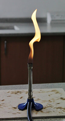 yellow Bunsen burner flame