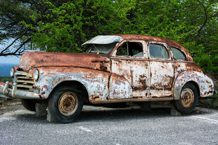 car metal rust chemical change irreversible