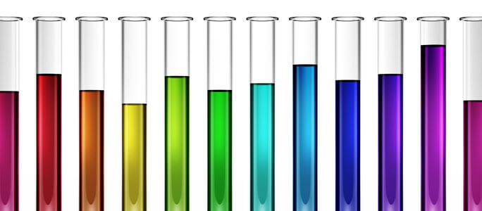test tubes pH indicator scale